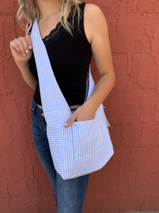 Robin's Reversible/Reusable Fabric Bag - Striped/Rose