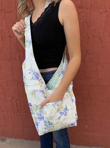 Robin's Reversible/Reusable Fabric Bag - Floral/Ivy