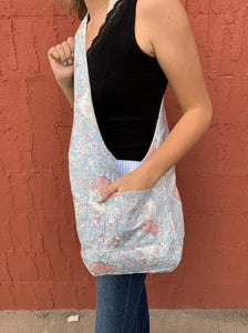 Robin's Reversible/Reusable Fabric Bag - Striped/Floral