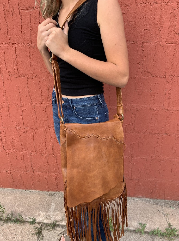 Brown Leather Crossbody Fringe Bag