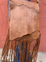 Load image into Gallery viewer, Brown Leather Crossbody Fringe Bag