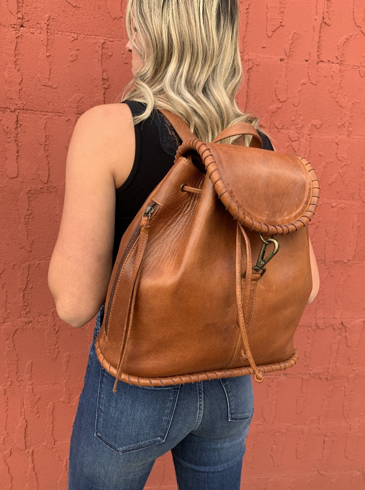Brown Leather Whip Stitch Backpack