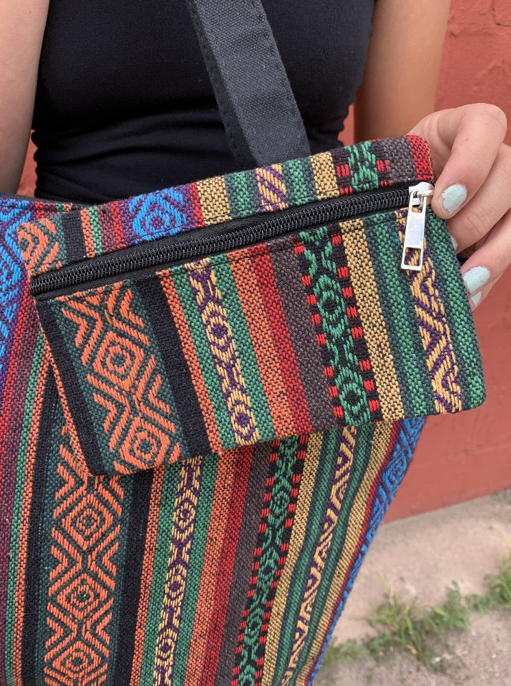 Fabric Tote With Coin Purse - Rasta