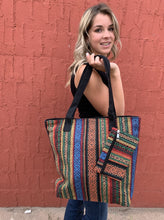 Load image into Gallery viewer, Fabric Tote With Coin Purse - Rasta