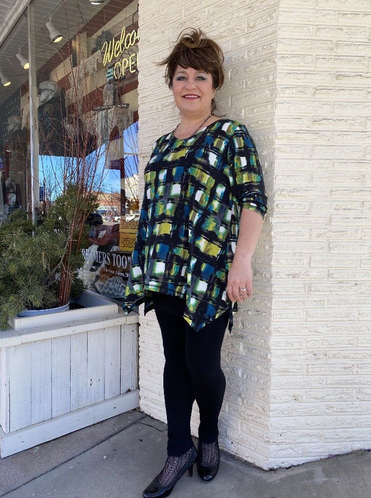 Freddi Top - Stained Glass Plaid