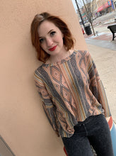Load image into Gallery viewer, Tribal Print Waffle Knit Puffy Long Sleeve Top - Dusty Peach Mocha