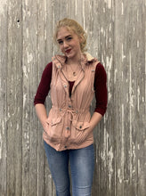 Load image into Gallery viewer, Hooded Button Down Vest with Pockets - Pale Rose