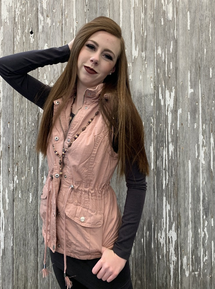 Hooded Button Down Vest with Pockets - Pale Rose