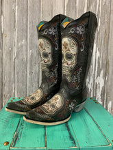 Load image into Gallery viewer, Black & White Skull Overlay & Embroidery & Stud Boots