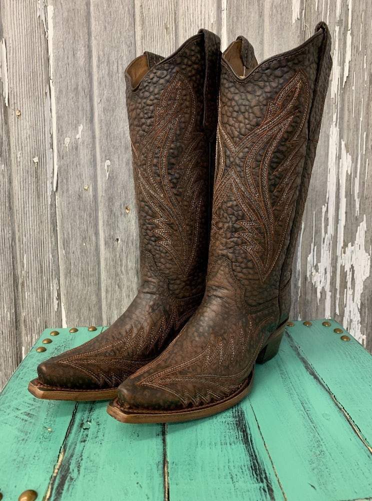 Textured Brown with Embroidery Cowgirl Boots