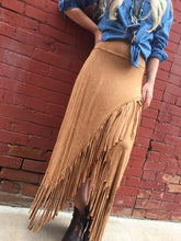 Load image into Gallery viewer, Asymmetrical Fringe Knit Skirt - Camel