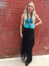 Load image into Gallery viewer, Asymmetrical Fringe Knit Skirt - Black
