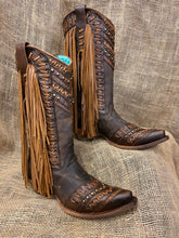 Load image into Gallery viewer, Brown & Tan Woven Details & Fringed Side Boots