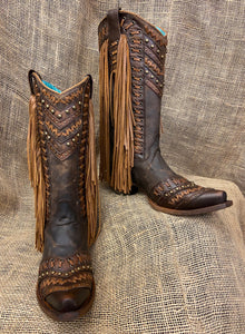 LD Brown/Tan Woven Details & Fringed Sides- C2986