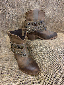 Women's Urban Corral LD Tan Studded Strap Ankle Boots-P5020