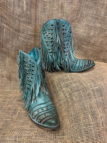 Corral LD Turquoise Fringes & Studs Ankle Boot R Toe Z0074