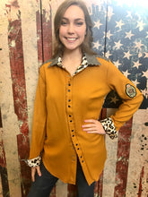 Load image into Gallery viewer, English Cowgirl Top - Mustard/Houndstooth