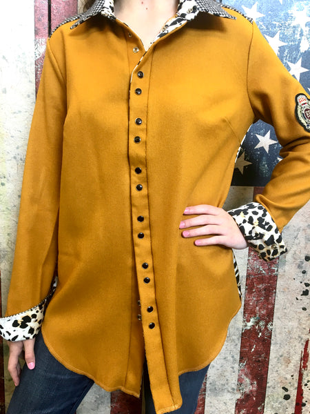 English Cowgirl Top - Mustard/Houndstooth