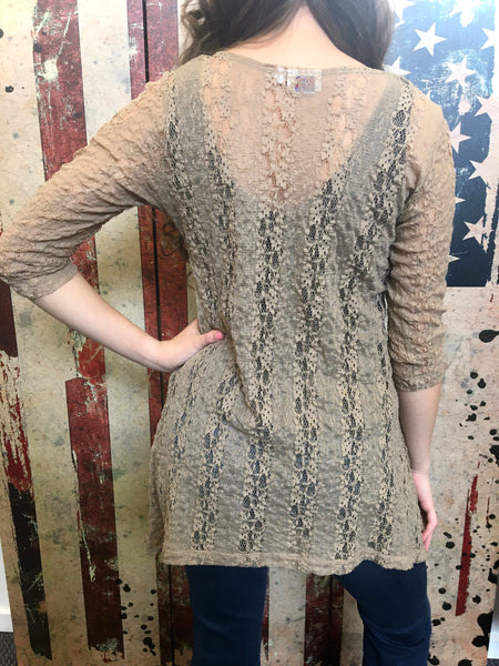 Shark Bite Top - Lace Taupe