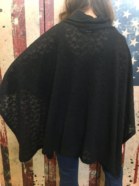 Poncho/Skirt - Black Floral Lace