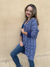 Load image into Gallery viewer, Cable Knit Cardigan Sweater - Indigo