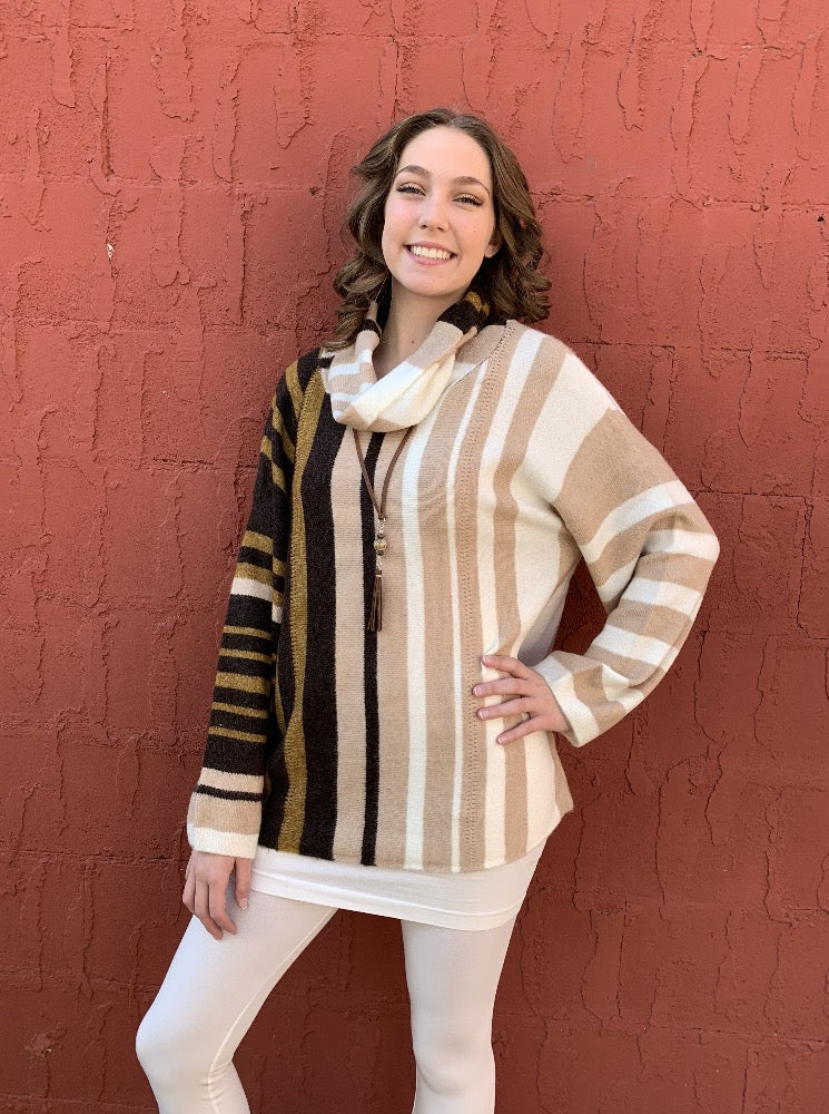 Vertical Striped Cowl Neck Top - Creamy Mocha