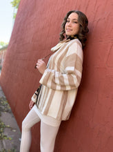 Load image into Gallery viewer, Vertical Striped Cowl Neck Top - Creamy Mocha