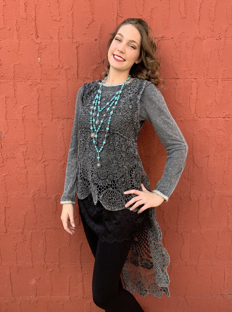 High-Low Double Layer Crochet Tunic - Charcoal
