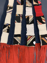 Load image into Gallery viewer, Antique Quilt And Repurposed Sweater Scarf - Red Fringe