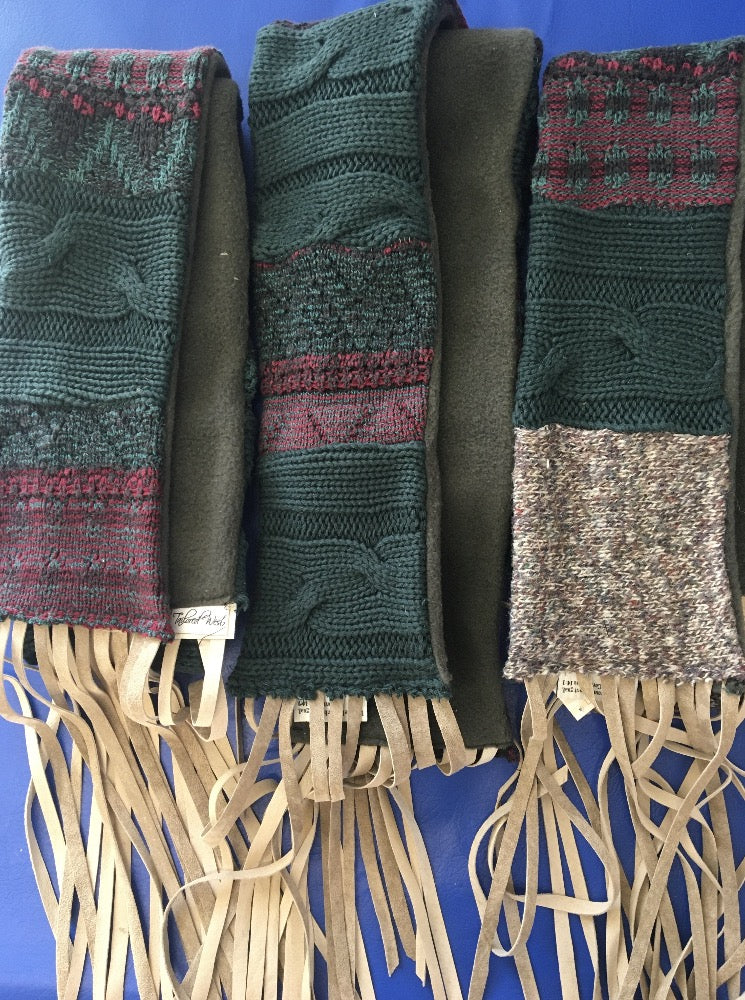 Repurposed Sweater Scarf - Khaki Fringe - 4 Colors