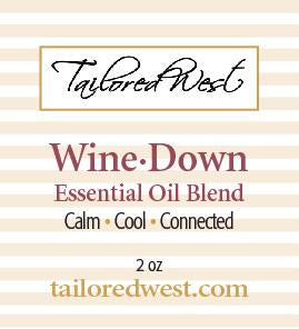 Wine Down Essential Oil Blend in Roller Bottle Label