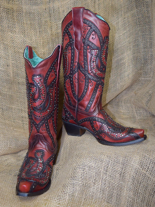 Corral Boots LD Wine Shoe Horses Overlay & Studs E1613