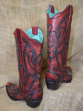Load image into Gallery viewer, Corral Boots LD Wine Shoe Horses Overlay & Studs E1613