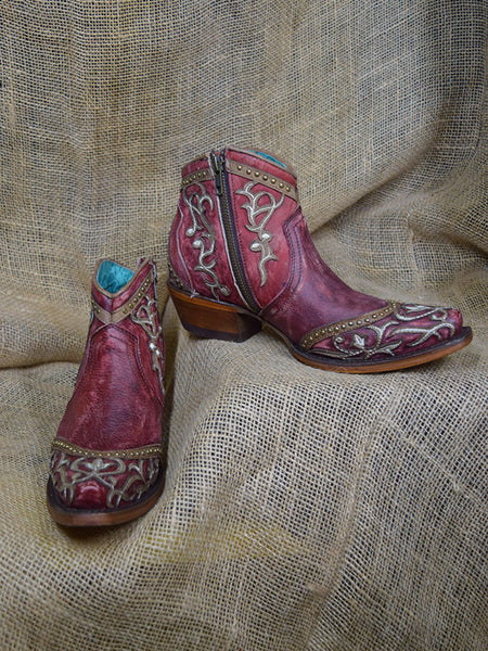 Corral Boots LD Red Overlay With Embroidery & Studs Ankle Boots A3930