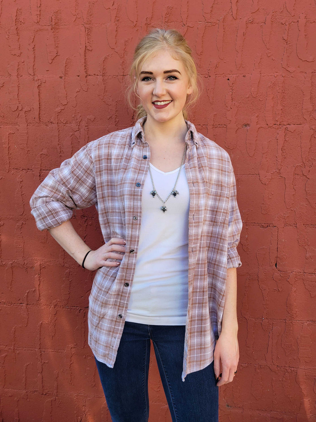 Vintage Flannel Shirt - Dusty Brown - Small