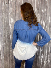 Load image into Gallery viewer, Honey Creek Dip-Dye Button-Down Top -  Blue and White