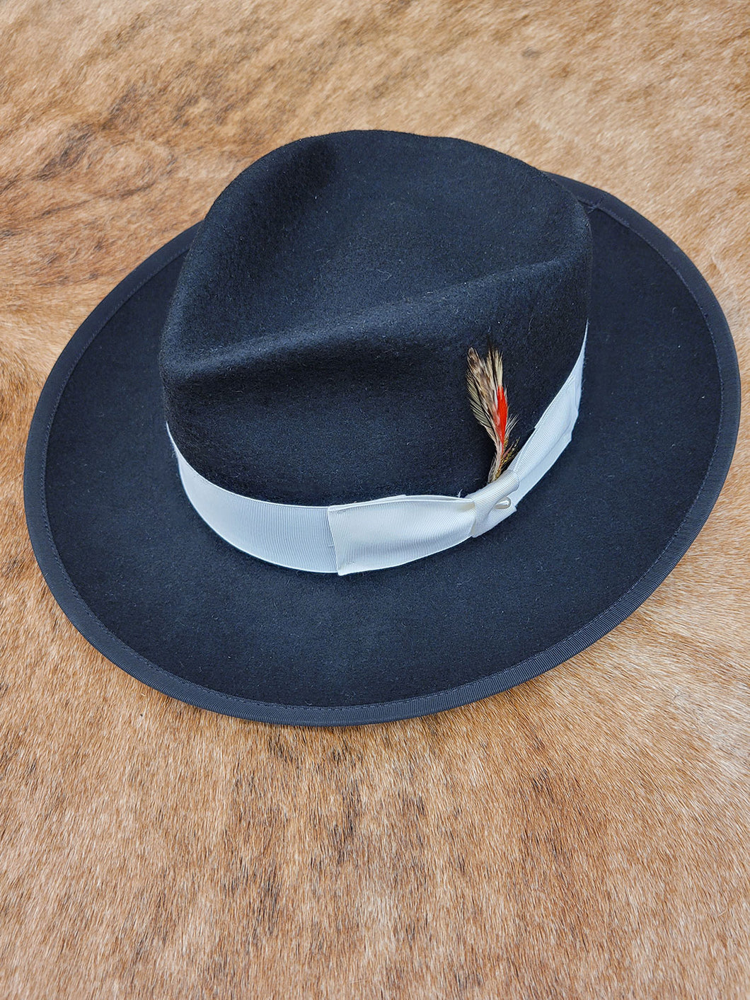Men's Black Fedora Hat With Feather Detail