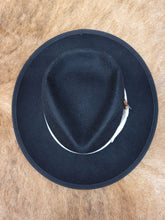 Load image into Gallery viewer, Men's Black Fedora Hat With Feather Detail