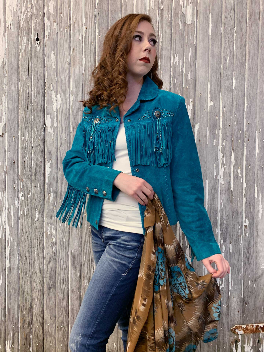 Fringe & Beaded Leather Jacket - Turquoise