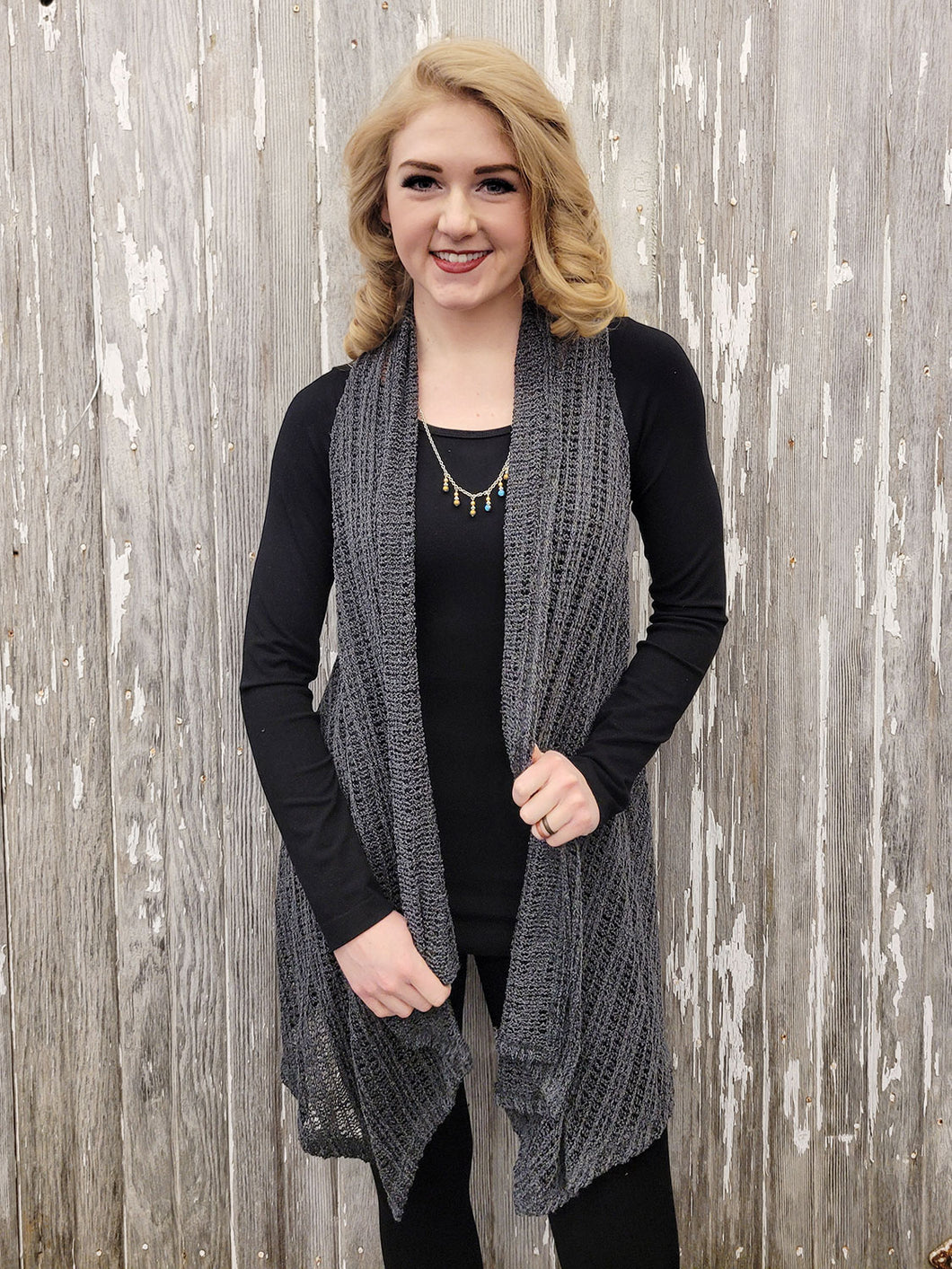 Woven Solid Sleeveless Cardigan - Charcoal