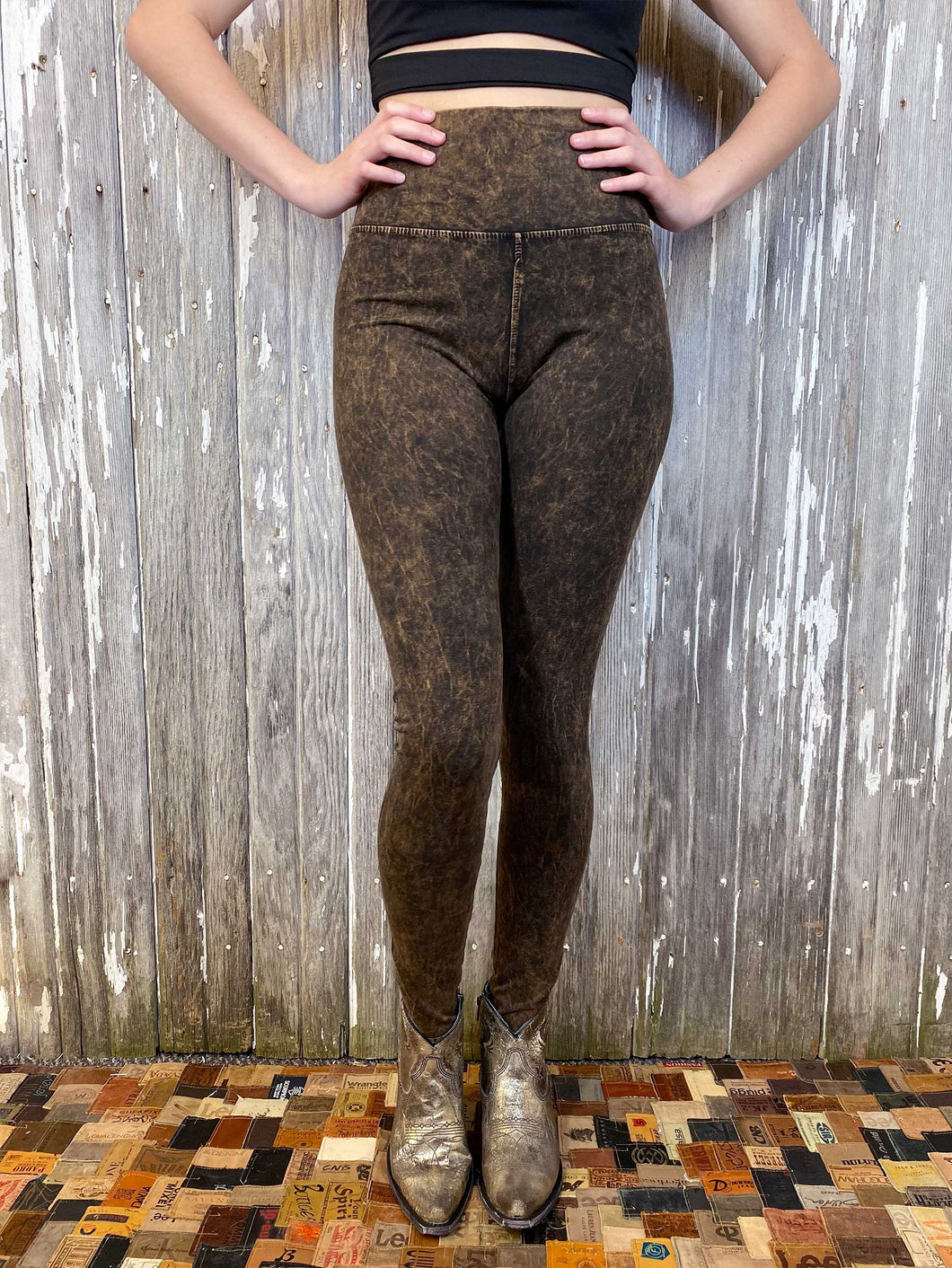 High Waisted Distressed Leggings - Brown
