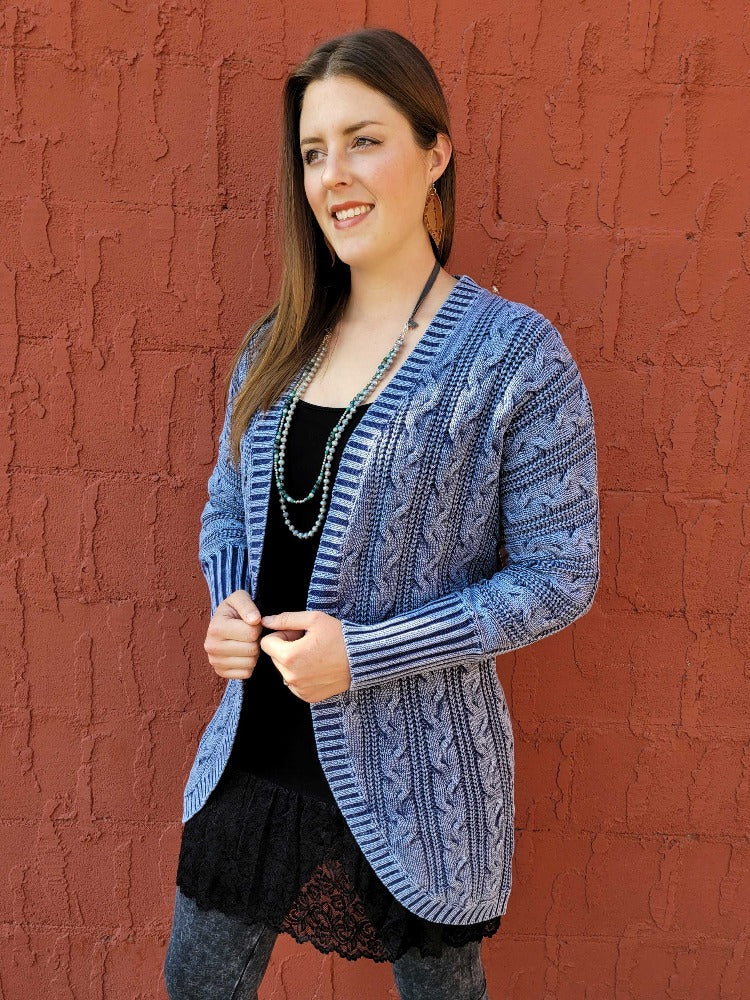 Cable Knit Cardigan Sweater - Indigo