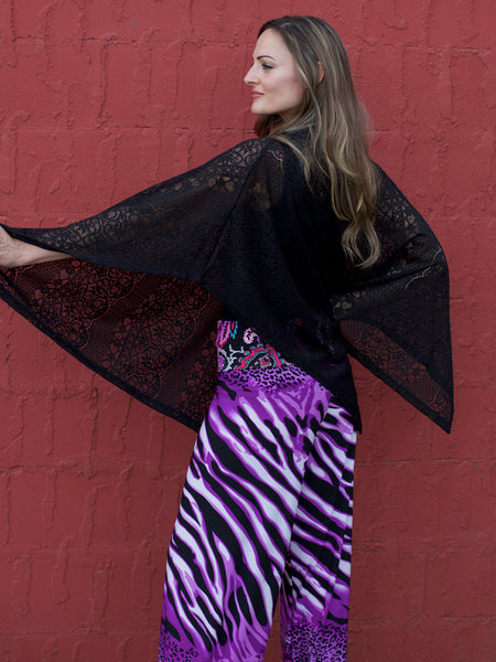 Poncho/Skirt - Black Filigree Lace