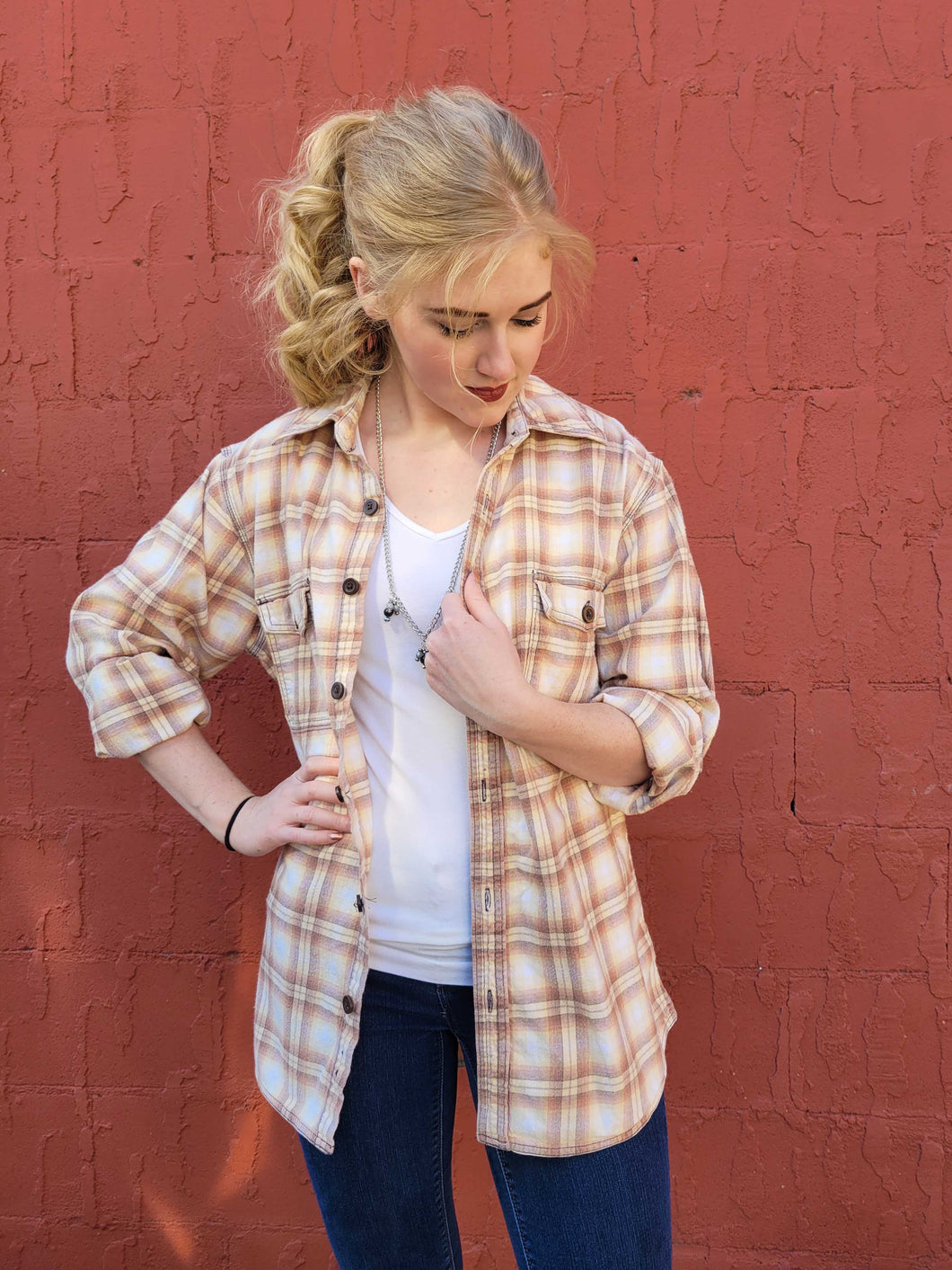Vintage Flannel Shirt - Rustic Sunshine - Small