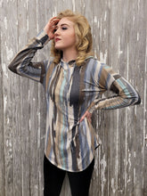 Load image into Gallery viewer, Vertical Striped Print Hooded Long Sleeve Top - Gray/Khaki/Mint