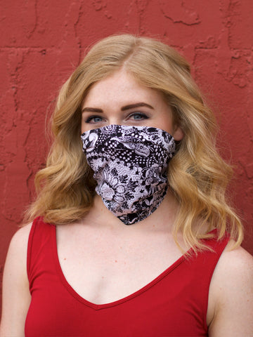 *Lizzy Headband/Mask - Grayscale Sunflower