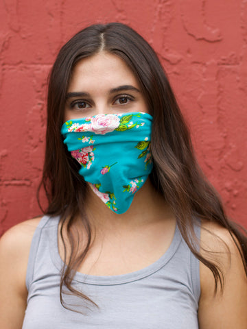 American Made Masks™ Fabric Mask - Turquoise Floral