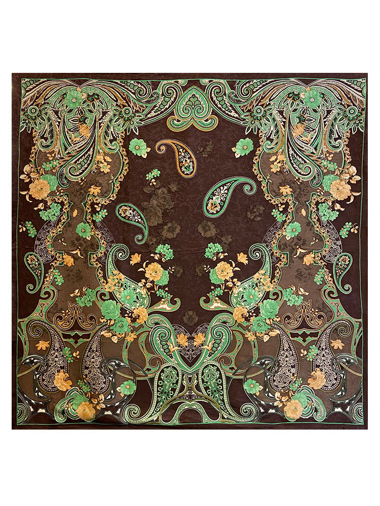 Brown + Green Paisley Wild Rag Scarf
