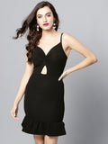Black Knot Frilled Dress4