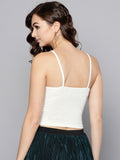 White Front Knot Strappy Crop Top2